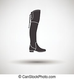Hessian boots icon on gray background with round shadow....