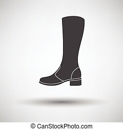 Autumn woman boot icon on gray background with round shadow...