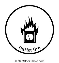 Electric outlet fire icon Thin circle design Vector...