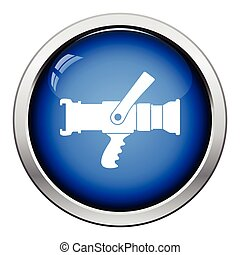 Fire hose icon. Glossy button design. Vector illustration.