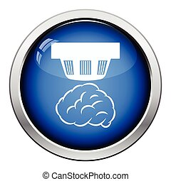 Smoke sensor icon. Glossy button design. Vector...