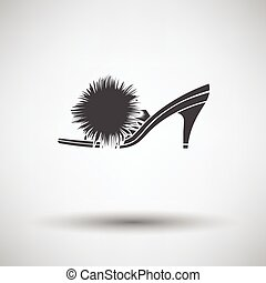 Woman pom-pom shoe icon on gray background with round shadow...