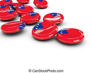 bandiera, di, Samoa, rotondo, Bottoni