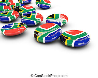 Flag of south africa, round buttons on white 3D illustration...