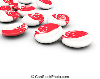 Flag of singapore, round buttons on white 3D illustration