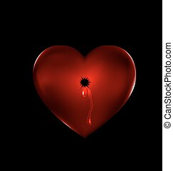 shot in the stone red heart