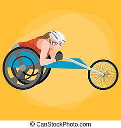 Disabled Athlete On Wheelchair race Track Sport Competition...