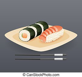 Realistic Sushi Roll Plate Sticks Fast Food Icon Retro Cartoon Symbol Template Vector Illustration