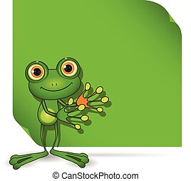 Frog and green background - Illustration of a green frog and...