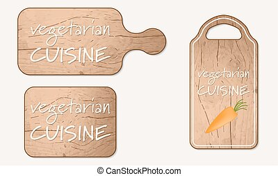 Wooden breadboard with the words vegetarian cuisine