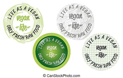 Set of four circular icons with the words vegan life