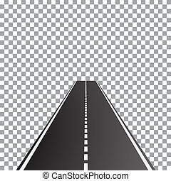 Vector illustration of perspective dual carriageway road, -...