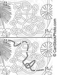 Rainforest maze for kids with a solution in black and white