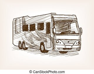 Mobile home bus transport sketch vector - Mobile home bus...