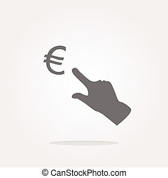 Currency exchange icons, euro money sign and people hand . Vector illustration