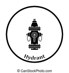Fire hydrant icon. Thin circle design. Vector illustration.