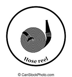 Fire hose icon Thin circle design Vector illustration