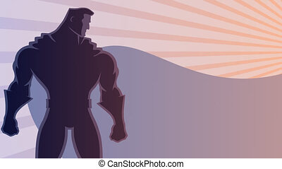 Superhero Background - Superhero over sunrays background...