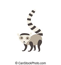 Lemur Stylized Childish Drawing Isolated On White Background...