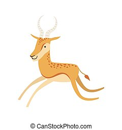 Gazelle Stylized Childish Drawing Isolated On White...