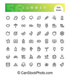 Summer Line Icons Set - Set of 56 summer line icons suitable...