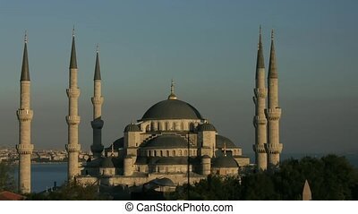 Time lapse Istanbul sunset over Blue Mosque 25 fps, PAL, PAN...