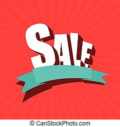 Sale banner, Poster, Leaflet. Blank ribbon template. Abstract red background. Flat design style for print, web or mobile app. Vector colorful illustration