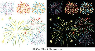 Fireworks on black and white background