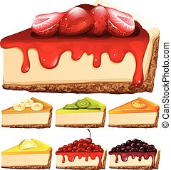Cheesecake with different toppings illustration
