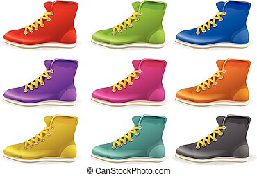 Different colors of shoes illustration