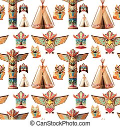 Seamless background with totem poles  illustration