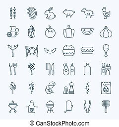 Line Barbecue Party Icons Vector Collection of Modern Thin...