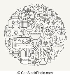 Barbecue Party Line Icons Circle. Vector Illustration of...