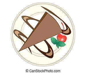 chocolate dessert - a vector illustration in eps 10 format...