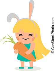 Little Happy Girl Hare Bunny Ears Big Tasty Carrot Symbol...
