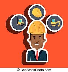 man construction helmet lift truck vector illustration...