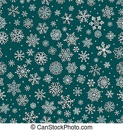 Vector White Winter Snow Flakes Seamless Background Pattern