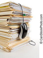 File Stack and Computer Mouse - File Stack, Computer Mouse,...