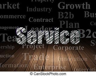 Business concept: Service in grunge dark room