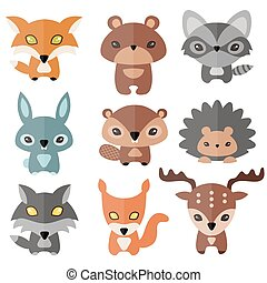 Cute forest animals - Vector set of cute forest animals....