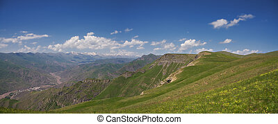 Valley and plateau in summer mountains panorama