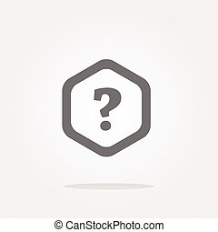 Icon on the clouds with questions mark sign . Vector illustration
