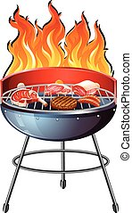 Different types of meat on the grill illustration