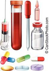 Medical set with syringe and medicine