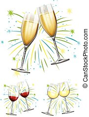 Wine glasses and champagne glasses illustration