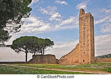 medieval tower in Castiglion Fiorentino, Arezzo, Tuscany, Italy