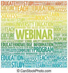 WEBINAR word cloud, education business concept
