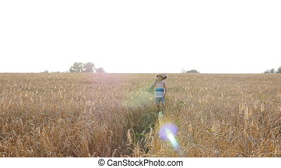 Young man with acoustic guitar at the wheat field - Young...