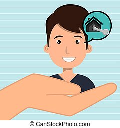 man hand house key vector illustration eps 10