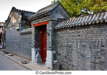 Hutong area in Beijing - Detail of Hutong area close to...